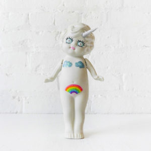 Little Miss Trippy Unicorn - Vintage Bisque Doll With Unicorn Horn