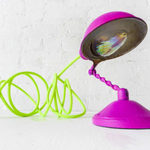 Little Hot Pink Sconce with Iridescent Bulb & Neon Green Yellow Color Cord
