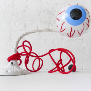 EYE SEE YOU – White Cast Iron Gooseneck Lamp with Red Vein Cloth Color Cord
