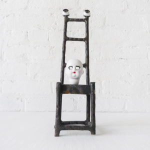 Eyeless Doll Face - Antique German Bisque Doll on Cast Iron High Chair