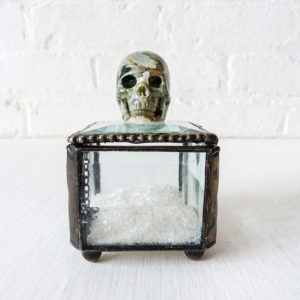 Beveled Glass Jewelry Box with Spotted Ocean Jasper Carved Skull