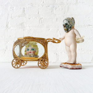 Ozma Head Carriage w Mombi - Antique German Bisque Doll with Ocean Jasper Crystal Skull