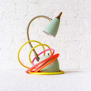 Vintage Mint Green Gooseneck Lamp with Ombre Cloth Color Cord