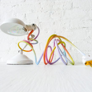Vintage Industrial White Sconce Clip Clamp Light with Ombre Rainbow Color Cord