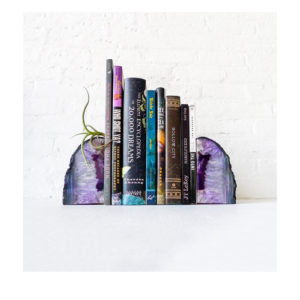 Air Plant Planetary Purple Book Ends - Crystal Bookends Air Plant Garden - Agate Geodes