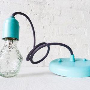 Retro Modern Ornate Diamond Glass Coral Pendant Light with Aqua Color Cloth Cord