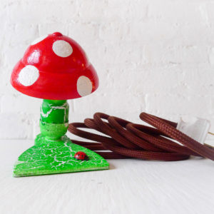 My Little Mushroom Night Light - Vintage Clip Clamp Shroom Lamp Hand Painted with Ladybug Pattern & Brown Cloth Color Cord