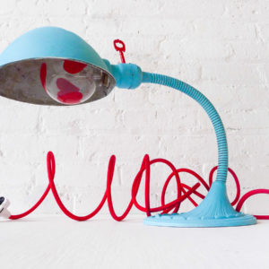 Queen Of Heartz Vintage Industrial Sky Blue Gooseneck Light with Red Key Switch, Heart Glow Bulb & Red Color Cloth Cord