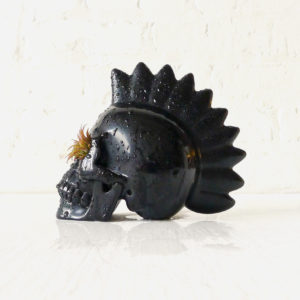 Punk Rock is Not Dead – Carved Skull with Live Air Plant Garden