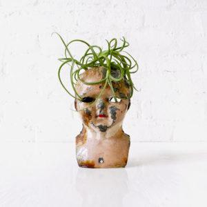 Scarface Burned Chucky German Doll Head Air Plant Garden