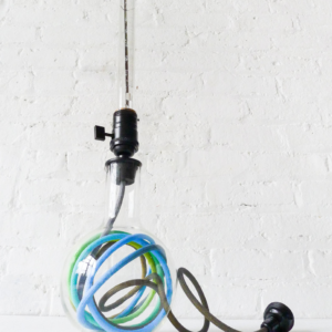 Round Glass Science Beaker Table Lamp with Ombre Textile Cord