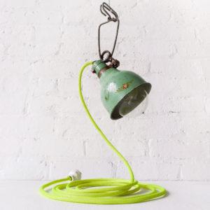 Vintage Electrolite Green Clip Lamp Pink Rose Pastel Yellow Neon Net Textile Cord