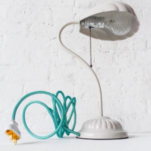 White Shell Lamp Vintage Light with Aqua Net Color Cord and Ornate Diamond Light Bulb