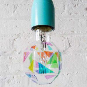 Pastel Rainbow Geometric Bulb on Pastel Blue Pendant w/ Grey Cloth Color Cord