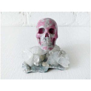 Rhodonite Carved Crystal Skull on Apophyllite-Stilbite India Cluster