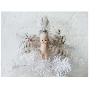 Angel Baby Wingz - Antique German Bisque Doll Ornament - Crystal Crown Headpiece